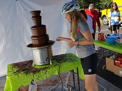 Huge chocolate fountain for the ride