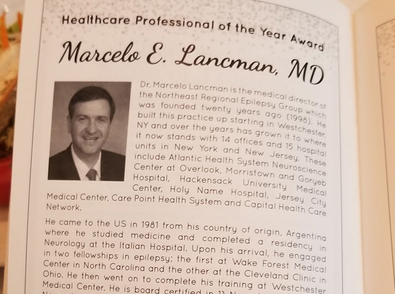 Dr. Marcelo Lancman awarded healthcare professional of the year