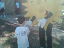 Little Epilepsy Group team member says hi to EFNJ Sun mascot