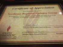 Award to the Northeast Regional Epilepsy Group for dedication to the Epilepsy Foundation of NENY
