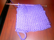 Epilepsy knitting club: Purple scarf