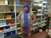Jo Ann models her purple creation for epilepsy awareness.