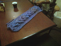 Instructor, Ro, shows us her speedy knitting skills