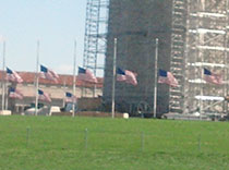 Half mast flags in honor of the Boston bombings just days before