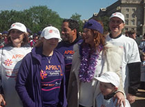 Team captain and members at the end of walk